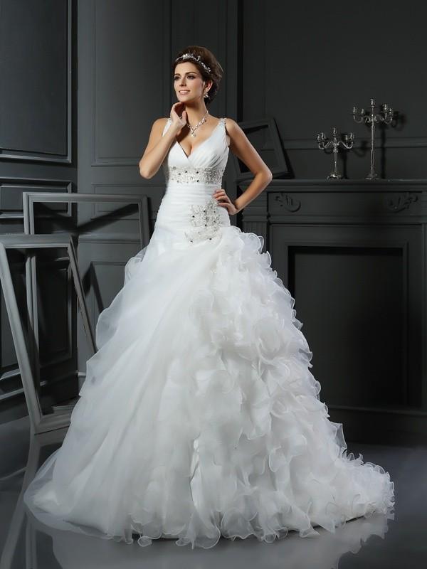 Robe de bal Col en V Volants Sans Manches Longue Organza Robes de Mariée