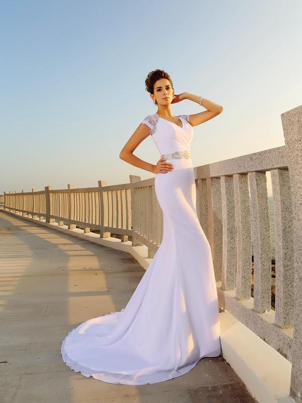 Fourreau Col en V Perles Sans Manches Longue Mousseline Plage Robes de Mariée