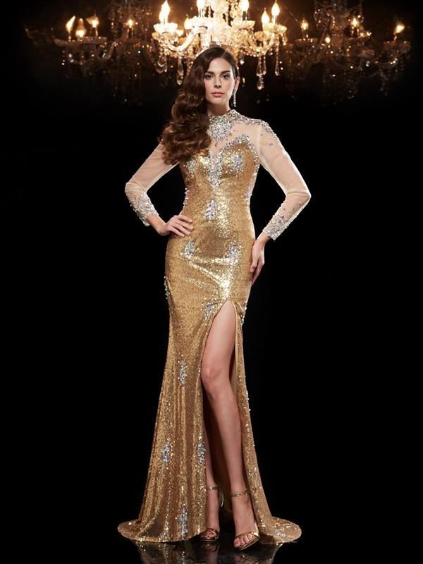 Sirène/Trompette Col montant Perles Manches ¾ Longue Sequinss Robes