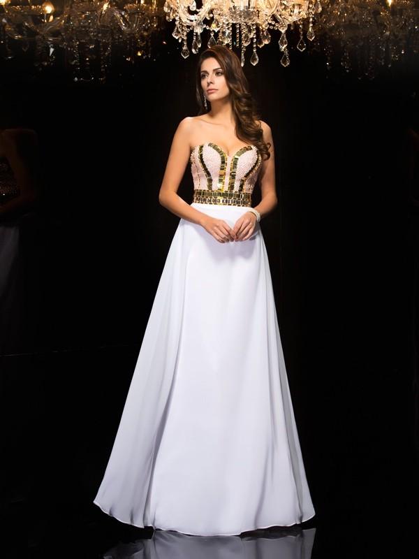 Trapèze/Princesse Col en coeur Sequins Sans Manches Longue Mousseline Robes