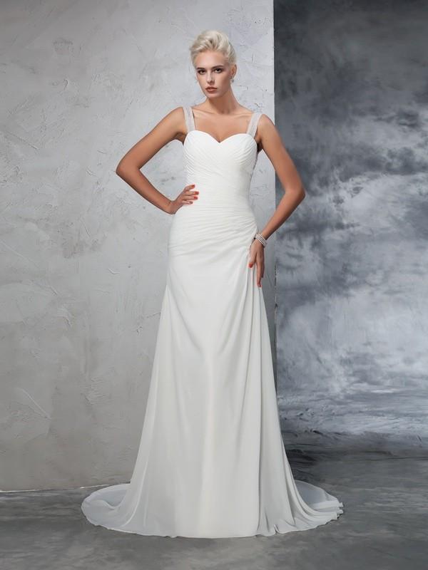Sirène/Trompette Avec bretelles Froncée Sans Manches Longue Mousseline Robes de Mariée