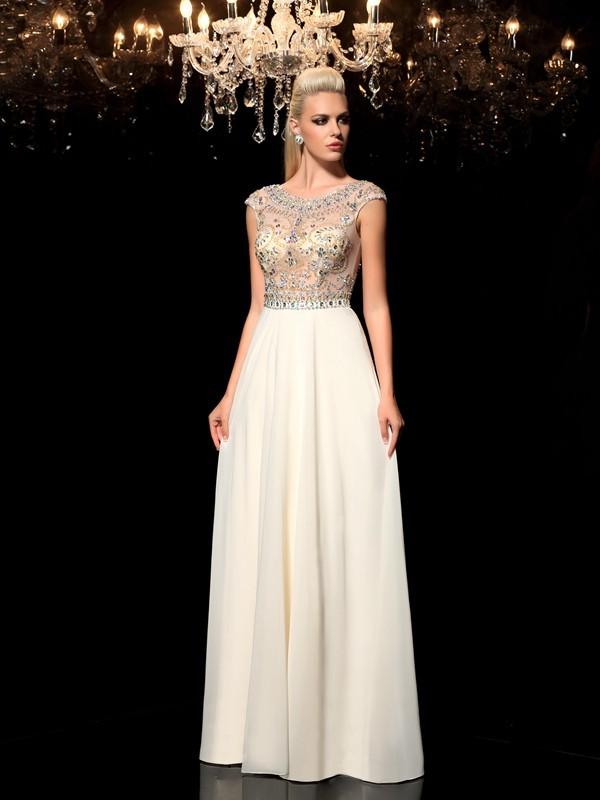 Trapèze/Princesse Sheer Neck Faux diamants Sans Manches Longue Mousseline Robes