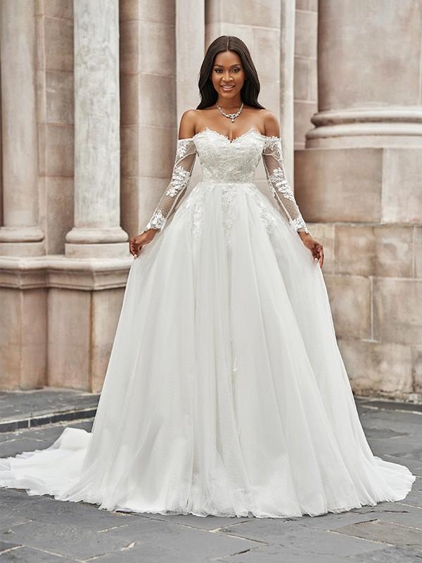 Trapèze/Principessa Tulle Appliqués Épaules dégagées Longue Manches Traîne courte Robes de mariée