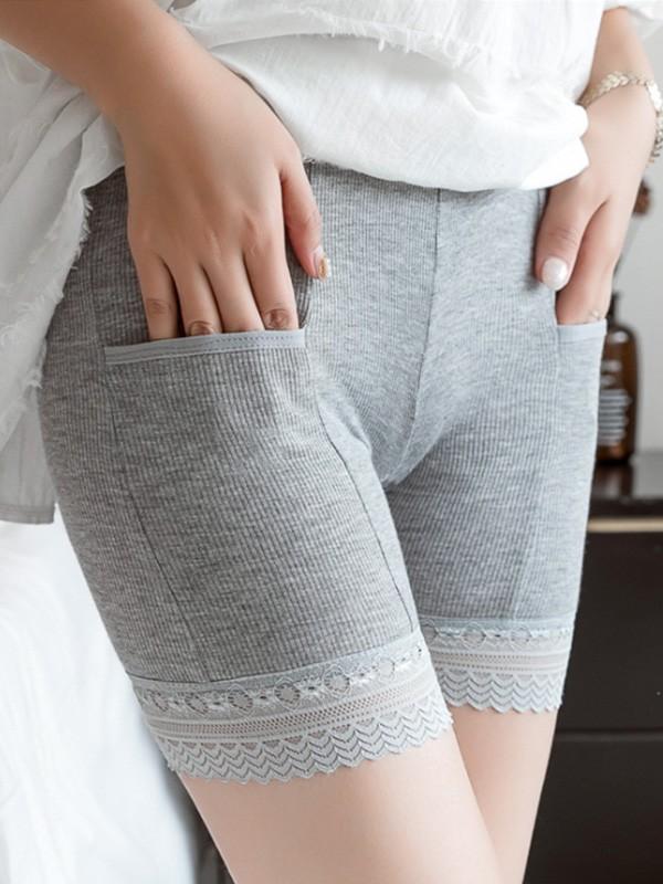 Grande taille Aux Femmes Cotton Dentelle With Pocket Elastic Safety Un pantalon/Safety Courtes