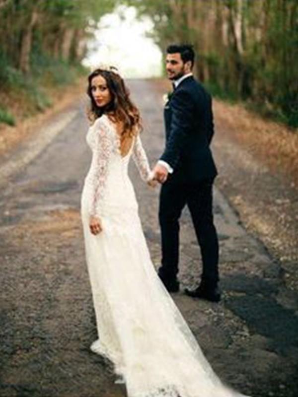 Fourreau Manches longues Col en V Traîne moyenne Appliqués Dentelle Robes de Mariée