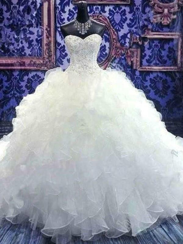 Robe de bal Sans Manches Col en coeur Traîne mi-longue Perles Pailleté Organza Robes de Mariée