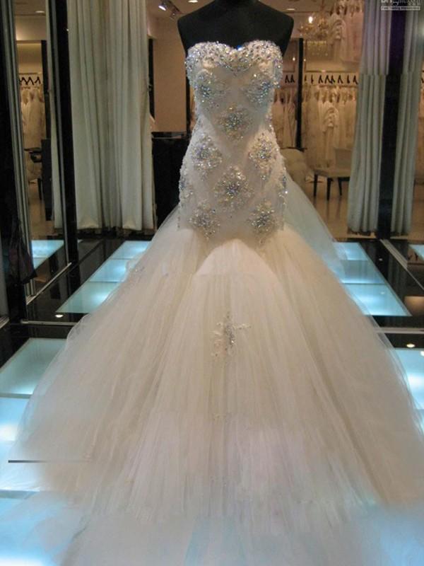 Sirène/Trompette Sans Manches Col en coeur Traîne moyenne Perles Tulle Robes de Mariée