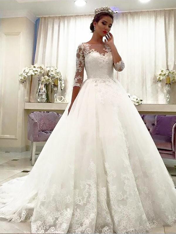 Robe de bal Tulle Manches ¾ Col bateau Dentelle Traîne moyenne Robes de Mariée