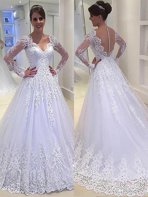 Trapèze/Princesse Appliqués Col en V Traîne moyenne Tulle Manches longues Robes de Mariée