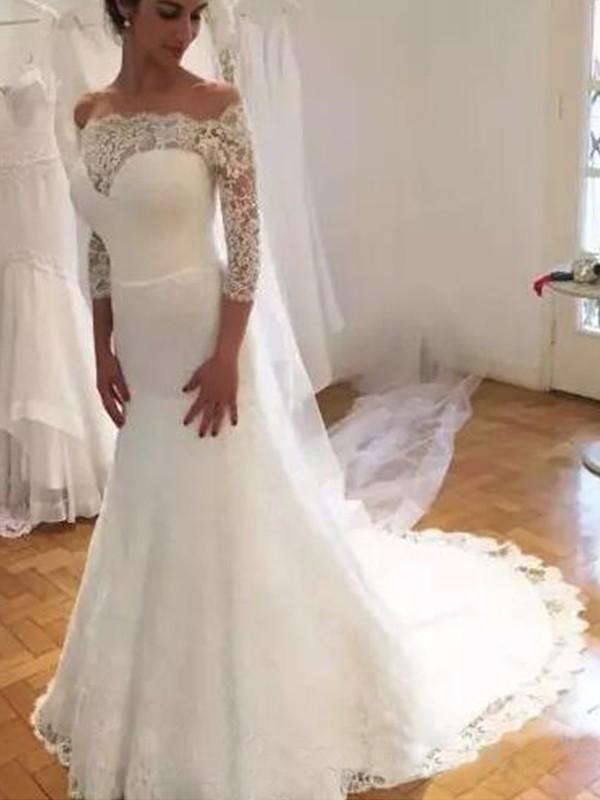 Sirène/Trompette Épaules dégagées Manches ¾ Traîne courte Volants Dentelle Robes de Mariée