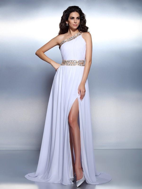 a174fcd040e Trapèze Princesse Col asymétrique Perles Sans Manches Longue Mousseline  Robes