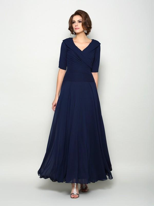 Trapèze Princesse Col en V Manches ½ Longue Mousseline Robes des mères des  mariés a1fd7ba500ee