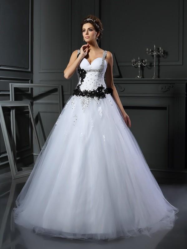 88a1d427a20 Robe de bal Avec bretelles Perles Sans Manches Longue Tulle Robes de Mariée