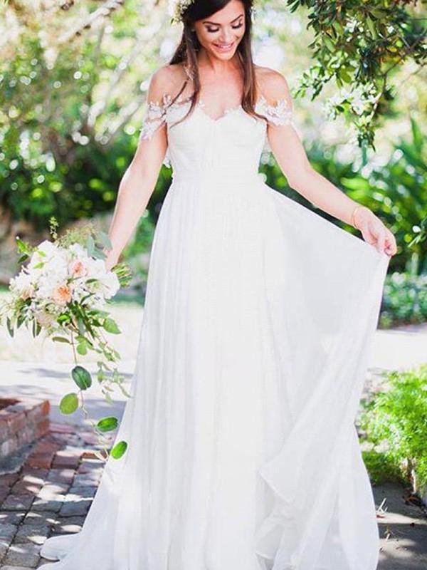 Trapèze Princesse Sans Manches Épaules dégagées Traîne courte Appliqués  Dentelle Mousseline Robes de Mariée 312db28ac530