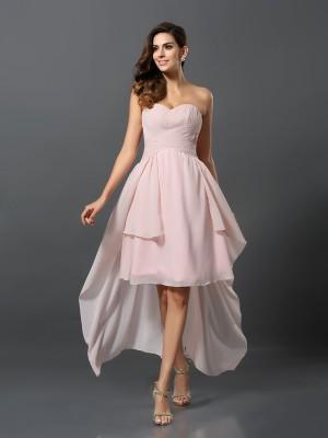Trapèze/Princesse Col en coeur Plis Sans Manches Traîne asymétrique Mousseline Robes de demoiselle d'honneur