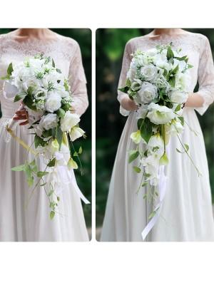 Pure Cascade Silk Flower De mariée Bouquets