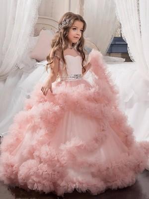 Robe de bal Col ras du cou Manches courtes Cristal Longueur ras du sol Tulle Robe de Demoiselle d'Honneur Fille