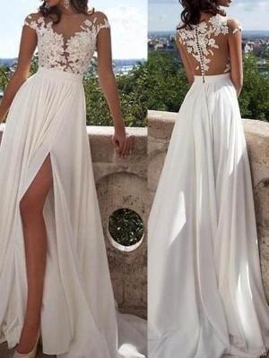 Trapèze/Princesse Manches courtes Col plongeant Longueur ras du sol Appliqués Mousseline Robes