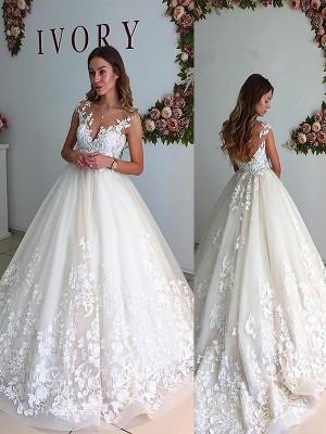 Trapèze/Princesse Col en V Traîne moyenne Tulle Sans Manches Robes de Mariée