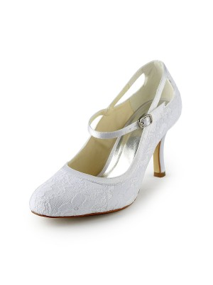 Women's Joli Satin Stiletto Heel Pumps With Buckle White Chaussures de mariage