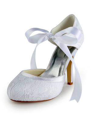 Women's Satin Stiletto Heel Pumps with Dentelle White Chaussures de mariage