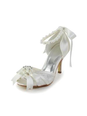 Women's Satin Stiletto Heel Sandals Chaussures de danse Pearl