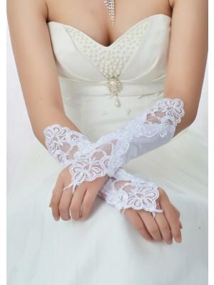 Étourdissant Perles Dentelle Satin Mariage Des gants