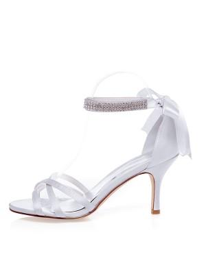 Women's Satin Peep Toe Stiletto Heel Silk Chaussures de mariage