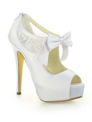 Women's Satin Dentelle Plate-forme Peep Toe With Boucles Stiletto Heel White Chaussures de mariage