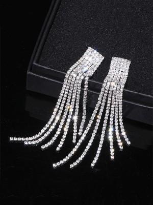 Aux Femmes Fantaisie Faux diamants Longue Tassel Des boucles d'oreilles