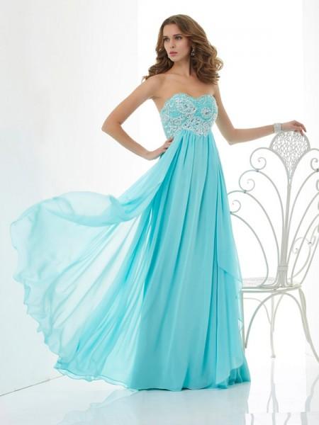 Trapèze/Princesse Perles Col en coeur Sans Manches Longue Mousseline Robes