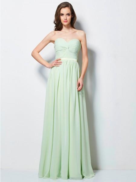 Trapèze/Princesse Col en coeur Plis Sans Manches Longue Mousseline Robes