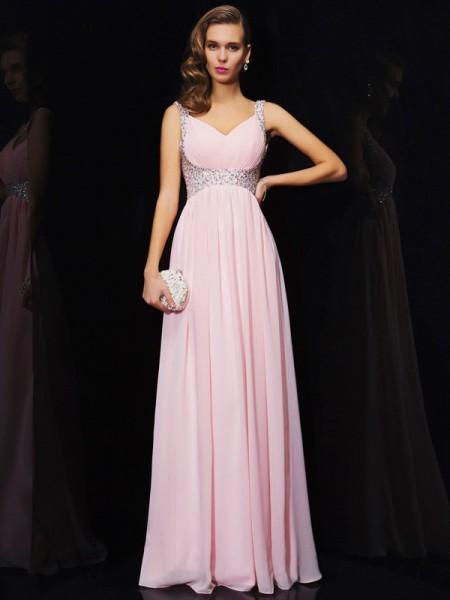 Trapèze/Princesse Sans Manches Col en V Perles Longue Mousseline Robes