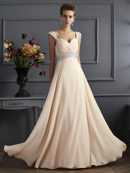 Trapèze/Princesse Avec bretelles Sans Manches Longue Perles Mousseline Robes