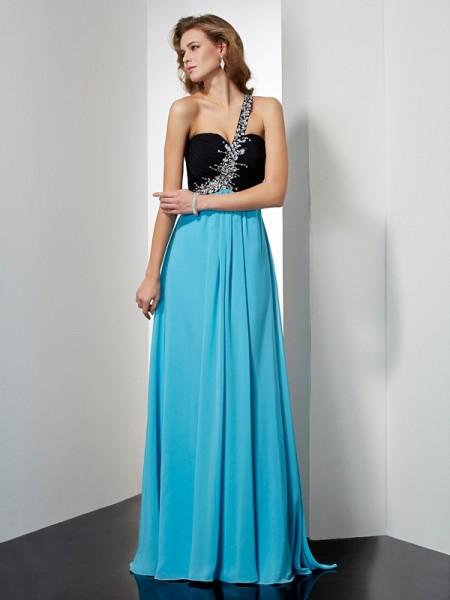 Trapèze/Princesse Sans Manches Col asymétrique Perles Longue Mousseline Robes
