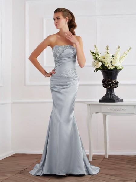 Sirène/Trompette Sans bretelles Perles Longue Satin stretch Robes
