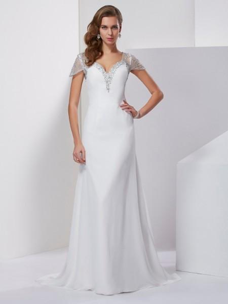 Trapèze/Princesse Col en coeur Manches courtes Appliqués Perles Longue Mousseline Robes