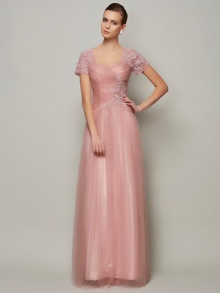 Trapèze/Princesse Col en coeur Manches courtes Perles Longue Satin Robes