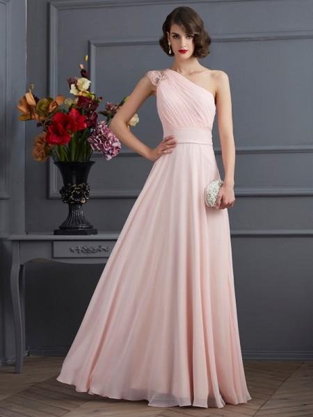 Trapèze/Princesse Col asymétrique Sans Manches Longue Perles Mousseline Robes