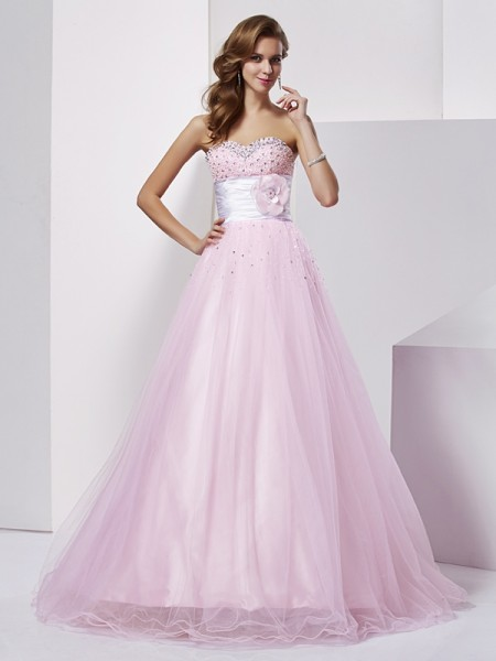 Robe de bal Sans bretelles Sans Manches Perles Longue Satin stretch Robes de Quinceanera