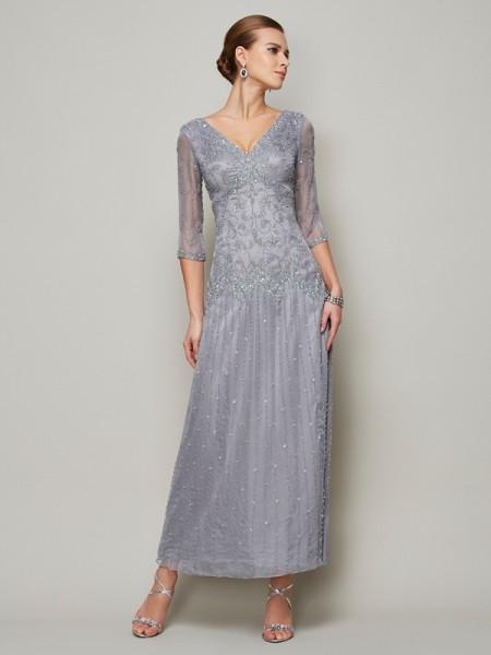 Fourreau Col en V Manches ½ Perles Longue Satin stretch Robes des mères des mariés