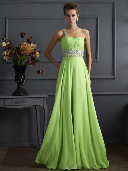 Trapèze/Princesse Sans Manches Perles Col asymétrique Mousseline Longue Robes