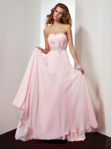 Trapèze/Princesse Col en coeur Sans Manches Perles Appliqués Longue Mousseline Robes