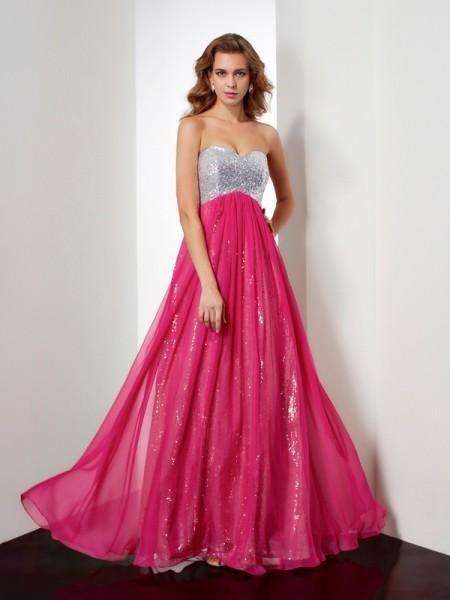 Trapèze/Princesse Sans Manches Perles Col en coeur Longue Mousseline Robes