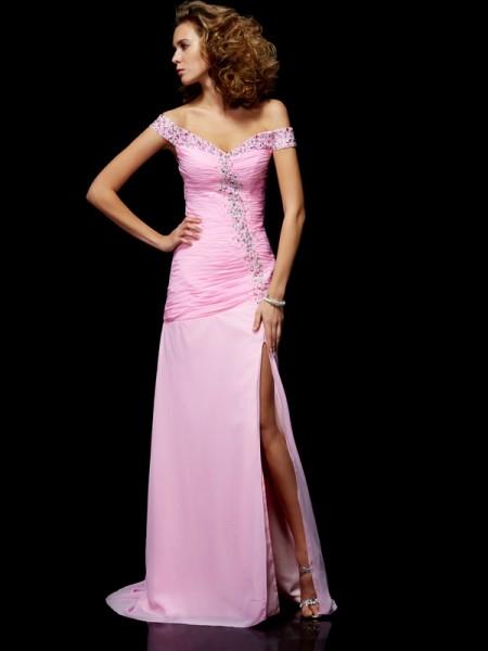 Trapèze/Princesse Off the Shoulder Sans Manches Perles Longue Mousseline Robes