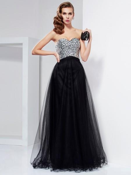 Trapèze/Princesse Col en coeur Sans Manches Perles Cristal Longue Satin stretch Robes