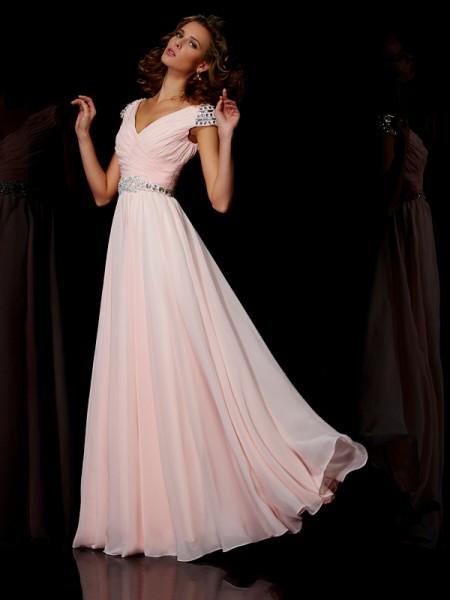Trapèze/Princesse Col en V Manches courtes Volants Longue Mousseline Robes