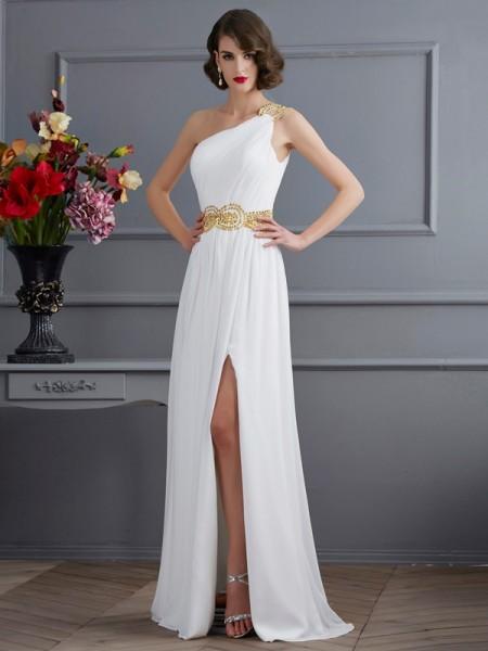 Trapèze/Princesse Col asymétrique Sans Manches Froncée Longue Mousseline Robes