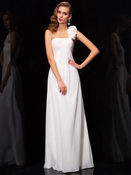 Trapèze/Princesse Col asymétrique Sans Manches Plis Fleurs faites à la main Longue Mousseline Robes