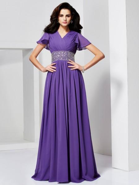 Trapèze/Princesse Col en V Manches courtes Perles Longue Mousseline Robes